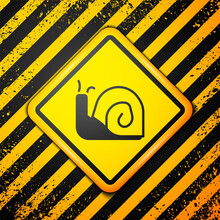 Black Snail Icon Isolated On Y...