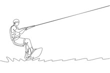 Single Continuous Line Drawing Of Young Sporty Surfer Man Playing - In The Sea. Extreme Dangerous Sea Sport Concept. Summer Holiday Vacation. Trendy One Line Draw Design Vector Graphic Illustration