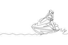 One Single Line Drawing Of Young Sporty Woman Play Jet Skiing In The Sea Beach Vector Illustration. Healthy Lifestyle And Extreme Sport Concept. Summer Vacation. Modern Continuous Line Draw Design