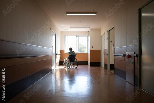 Canvastavla 病院の廊下から外の景色を眺める高齢の男性患者