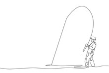 Single Continuous Line Drawing Of Young Happy Fisher Man Fly Fishing Trout Fish On Open Water River. Fishing Hobby Holiday Concept. Trendy One Line Draw Design Vector Graphic Illustration