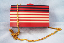 Red White And Black Resin Clutch For Ladies