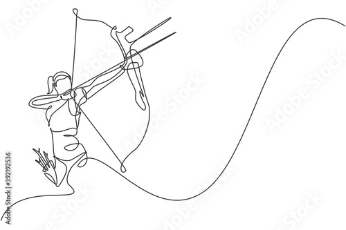 One continuous line drawing of young archer woman pulling the bow to shooting an archery target Fototapeta