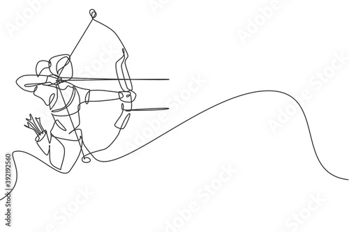 Fotografija Single continuous line drawing of young professional archer woman focus aiming archery target