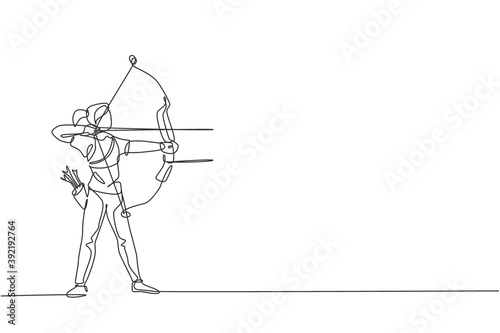 Single continuous line drawing of young professional archer woman focus aiming archery target Fototapete