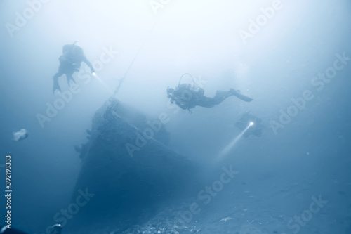 Cuadros en Lienzo shipwreck diving landscape under water, old ship at the bottom, treasure hunt