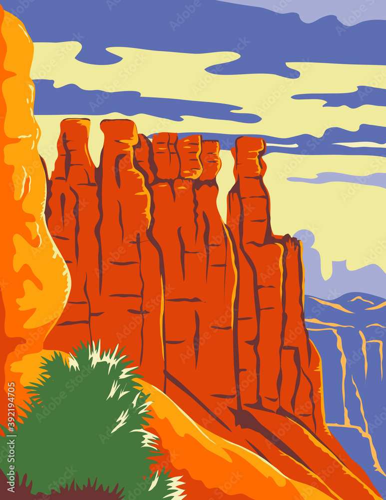 Fototapeta Bryce Canyon National Park in Paunsaugunt Plateau Garfield County and Kane County Utah WPA Poster Art Color