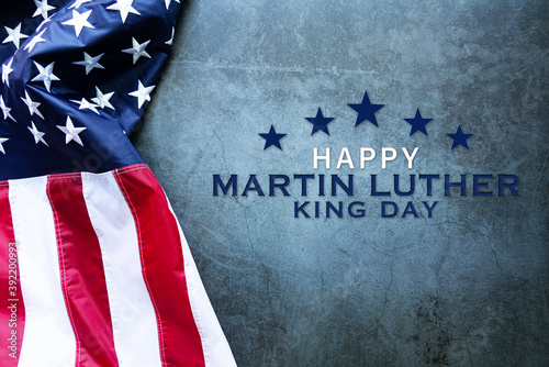 Vászonkép Martin Luther King Day Anniversary - American flag on abstract background