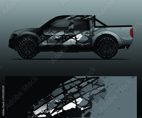 Truck decal, cargo van and car wrap vector, Graphic abstract grunge stripe desig Fototapet