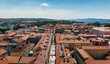 High angle shot of a cityscape with historic buildings in Croatia
