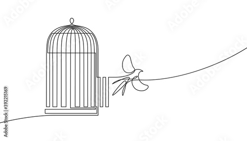 Valokuva Bird released from birdcage in continuous line art drawing style