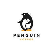 Penguin Coffee Logo Design Vec...