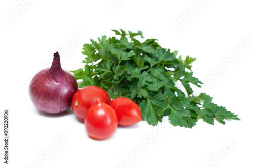 Tomatoes, onions and greens cockerel on a white background Wallpaper Mural