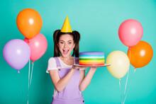 Photo Of Amazed Lady Hold Cake...
