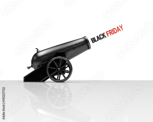 Photo Circus cannon shooting text Black Friday, 3d illustration