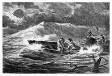 Boat Countercurrent On Amazon River During A Violent Dark Storm. Ancient Grey Tone Etching Style Art By Riou, Biard And Therington, Published On Le Tour Du Monde, Paris, 1861