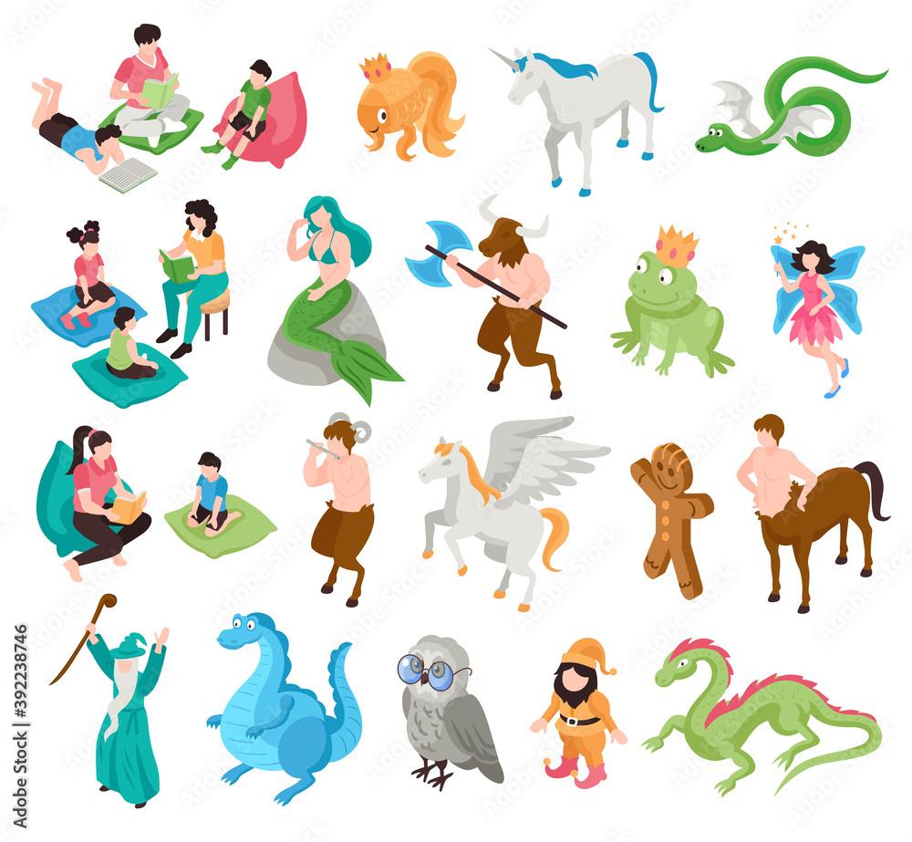 Fototapeta Fairytale Characters Isometric Set