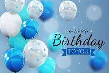 Happy Birthday Background With Balloons. Vector Illustration