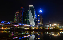 Moscow City At Night Across Th...