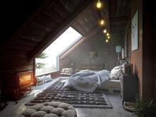 Rustikal Eingerichtete Dachwohnung Mit Großem Panoramafenster Im Herbst