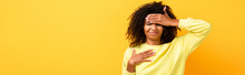 Displeased African American Woman Touching Forehead On Yellow, Banner