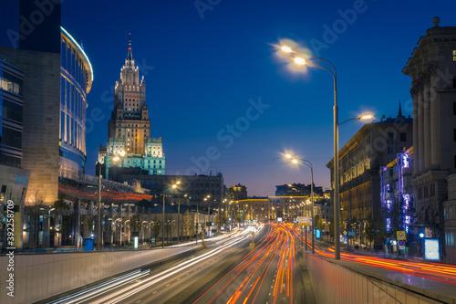 View of Novinsky Boulevard at night Fotobehang