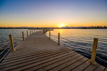 Wooden Pier On Red Sea In Hurghada At Sunset, View Of The Promenade Boardwalk - Egypt, Africa