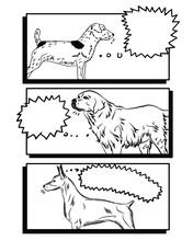 Speech Bubble Cartoon Illustration Monochrome For Dogs. Outline Paint Vector