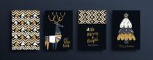 Christmas New Year Gold Folk Deer Pattern Card Set
