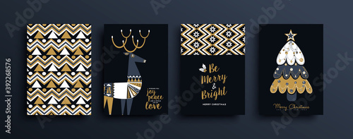 Christmas New Year gold folk deer pattern card set