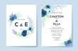 Wedding invitation template with blue rose flower set