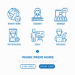 Work from home thin line icons set: freelancer, app developer, webinar, copywriter, web designer, coach. Vector illustration.