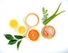 Homemade Skin Care And Hair Mask With Natural Ingredients Yogurt,aloe Vera ,and Grapefruit On White Background.Best Natural Body Scrub And Hair Care. For Strong And Beautiful Hair. Dandruff Treatment.