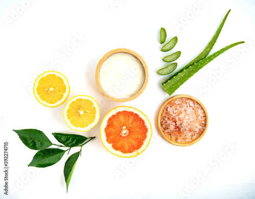 Fotografiet Homemade skin care and hair mask with natural ingredients yogurt,aloe vera ,and grapefruit on white background