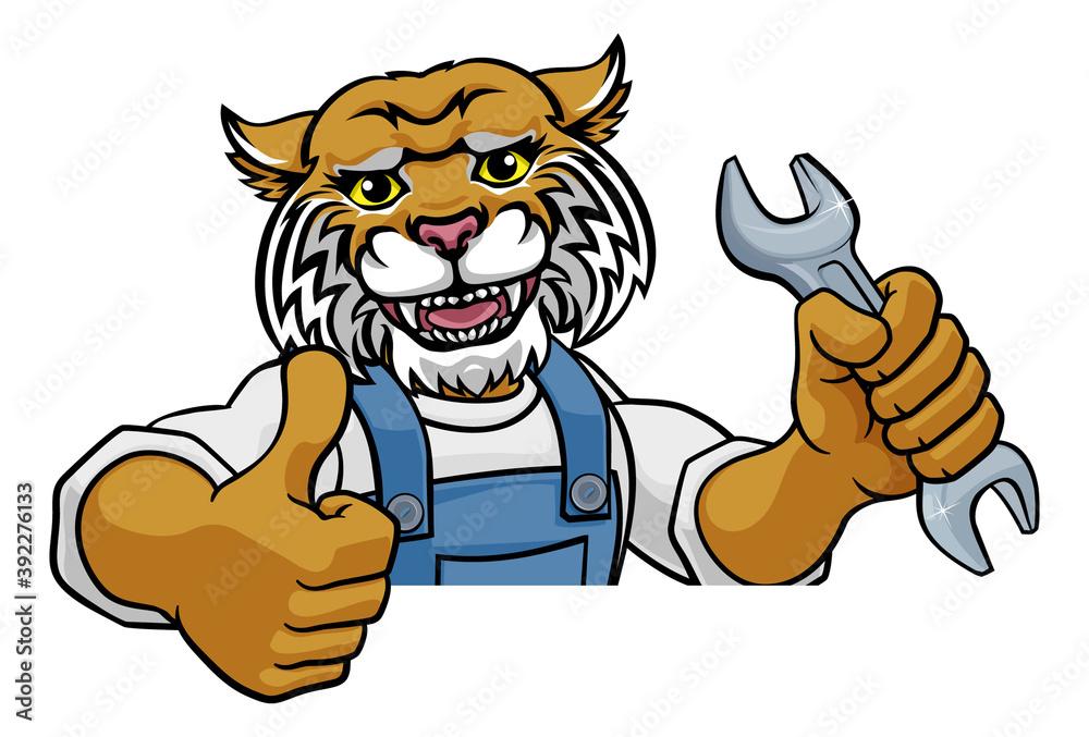Fototapeta A wildcat cartoon animal mascot plumber, mechanic or handyman builder construction maintenance contractor peeking around a sign holding a spanner or wrench