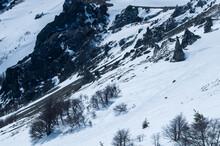 Beautiful Shot Of A Snowy Mountainside
