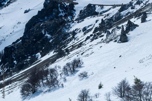 Obraz na plátně Beautiful shot of a snowy mountainside