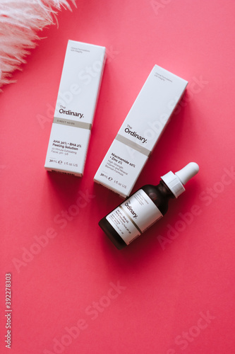 Fototapeta premium The Ordinary cosmetics on pink background. Rostov-on-Don, Russia. 28 February 2020