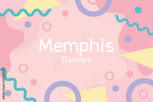 Fototapeta memphis figures pop textile 80s 90s style abstract banner obraz