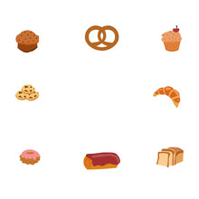 Flour Products, Buns, Square-shaped, The Vector Graphics