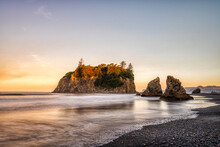 Sunrise At Ruby Beach In Olympic National Park, Washington State