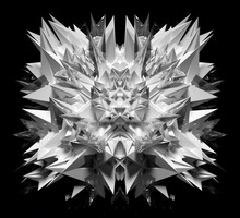 3d Render Of Abstract Art Black And White Monochrome Surreal Alien Fractal Cyber Flower Based On Triangle Symmetry Pattern On Surface In White Plastic With Glass Parts On Isolated Black Background