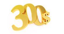Golden Three Hundred Dollar Sign Isolated On White Background, 300 Dollar Price Symbol. 3D Render, 300$