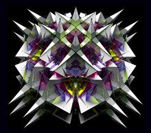 3d Render Of Abstract Art With Surreal Fractal Alien Flower Based On Connected Pyramids Geometry Figures In White Plastic Material With Glass Parts In Green Purple Gradient Color On Black Background