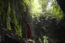 Woman In Green Nature