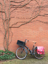 Bicycle Parked Against Brick W...