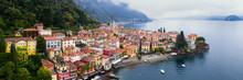 Aerial Of Varenna On Lake Como