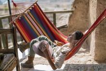 Traveller Woman Relax In Hammock
