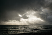 Stormy Sea Against Sunlight Br...