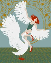 A Curly-haired Red-haired Girl With White Wings In A Bodysuit And Red Shoes Is Dancing With A White Swan Against The Background Of An Ornament Consisting Of A Circle, Lines And Lilies.